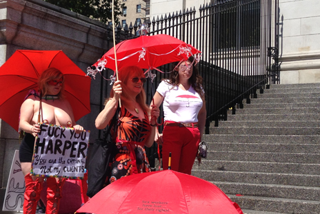 Red Umbrella March hard-core supporters gather on the Art Gallery steps. Courtesy: Kerry Porth